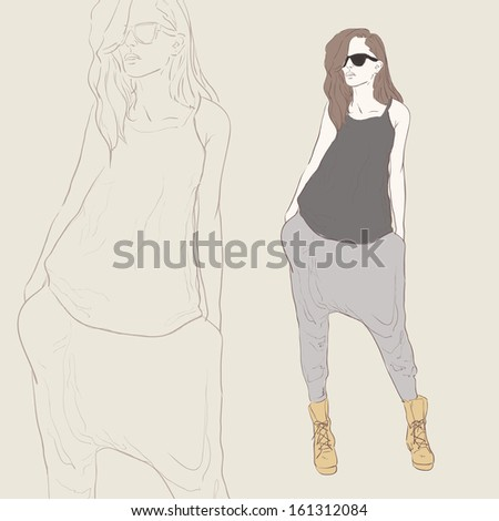 Fashion woman hand drawing illustration - stock photo