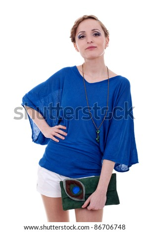 fashion woman holding little purse and laughing on white - stock photo