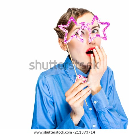 Fashion woman in funny glasses. Modern Christmas woman. Emotions. Holiday makeup and bright party accessories
