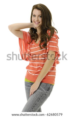 fashion woman in jeans posing in the studio - stock photo