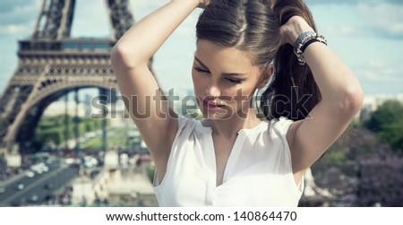 Fashion woman in romantic city - stock photo