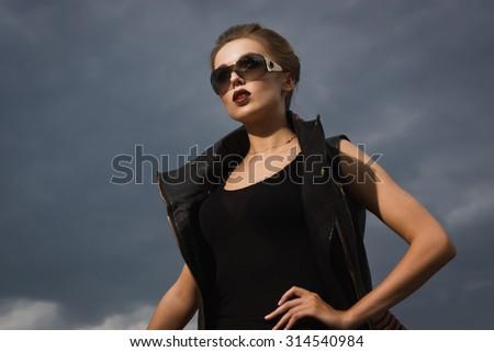 Fashion  woman in the dark - stock photo