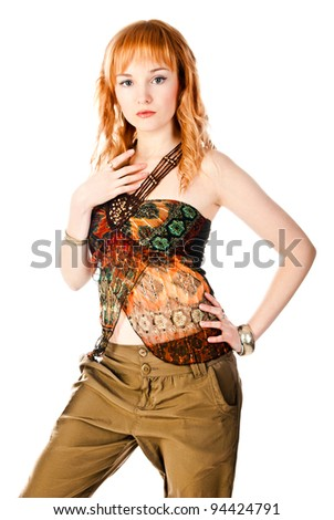 fashion woman isolated on a white background - stock photo