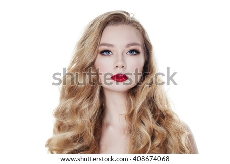 Fashion Woman Isolated on White Background. Blonde Hair and Makeup - stock photo