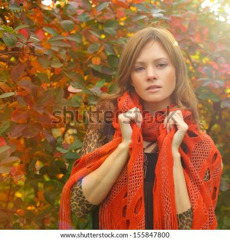 Fashion woman on autumn sun light - stock photo