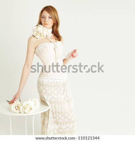 Fashion woman on background - stock photo