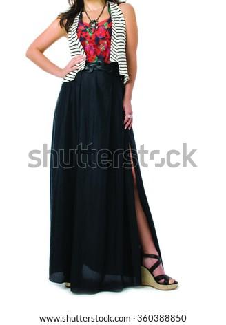 Fashion Woman on white background - crop image - stock photo