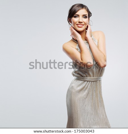 Fashion woman portrait. Beautiful model. Studio isolated, gray background.