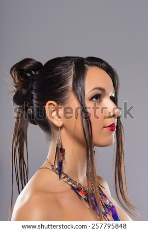 Fashion woman portrait. Female young model - stock photo