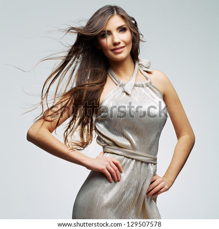 Fashion  woman portrait. Female young model. Studio isolated , gray background . - stock photo
