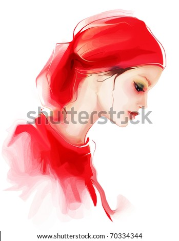 Fashion woman profile portrait - stock photo