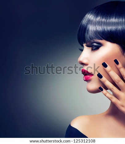 Fashion Woman Profile Portrait. Vogue Style Model. Stylish Makeup and Manicure. Beauty Girl with Black Hair - stock photo