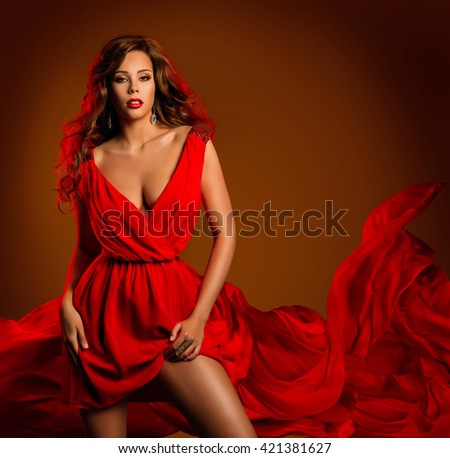 Fashion Woman Red Dress, Glamour Beauty Girl in Dynamic Waving Clothes