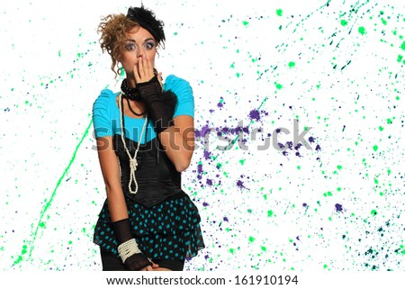 Fashion woman 80's style over paint splattered background - stock photo