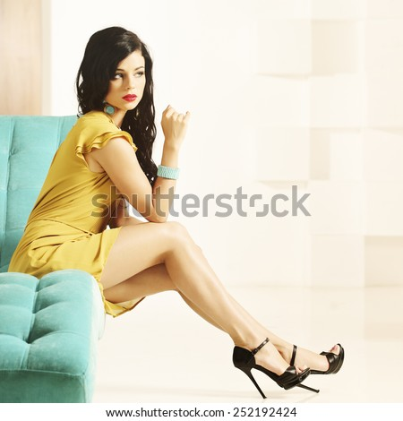 Fashion woman with beautiful legs - stock photo