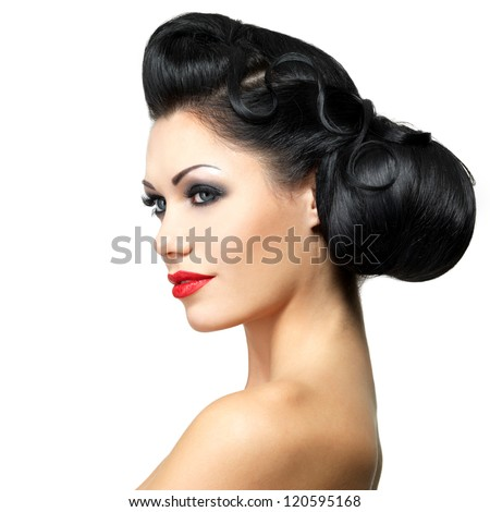 Fashion woman with beauty hairstyle and red lipstick -  isolated on white background