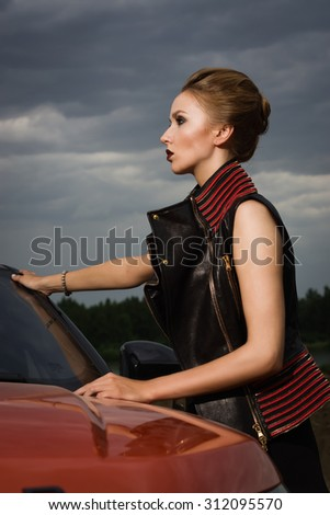 Fashion  woman with car - stock photo