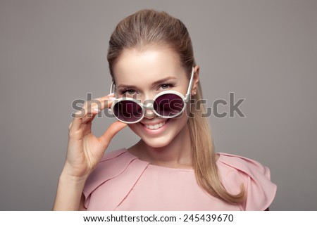 Fashion Woman With Sunglasses. - stock photo