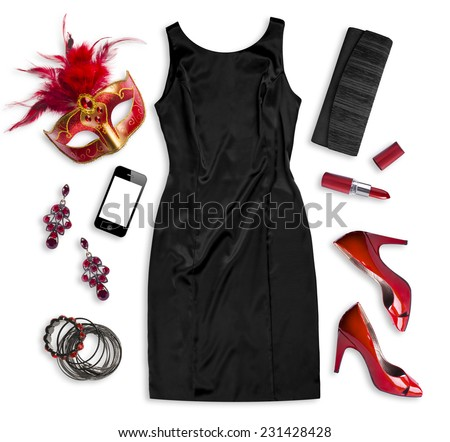 Fashion women accessories of carnival costume isolated on white - stock photo