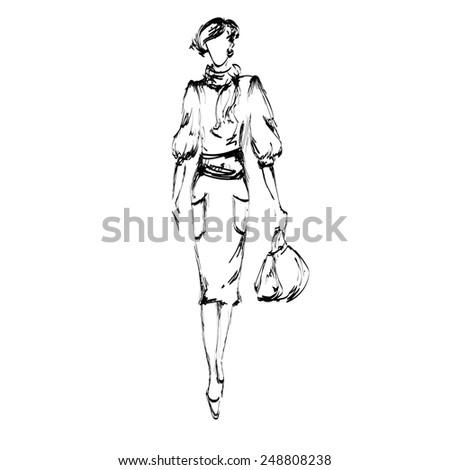 Fashion women with bag - stock photo