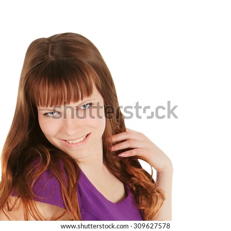 Fashion young brunette in magentas dress posing over white - stock photo