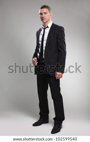 Fashion Young Businessman Black Suit Casual Stock Photo 102599543 ...