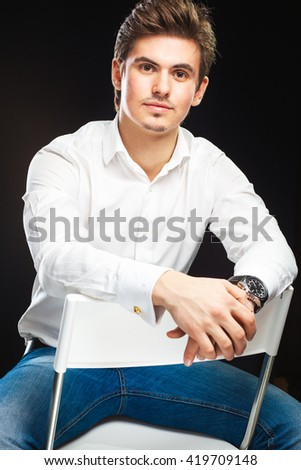 Fashion young businessman in white shirt - stock photo