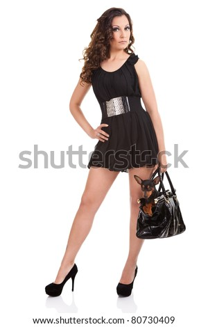 fashion young woman in elegant dress with dog in bag, isolated on white background - stock photo