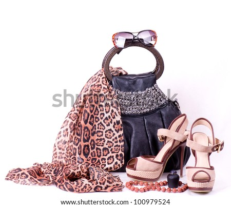 Fashionable accessories on white background. - stock photo