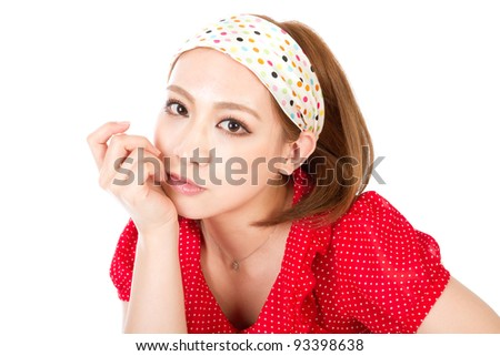 Fashionable and beautiful woman. Portrait of asian woman