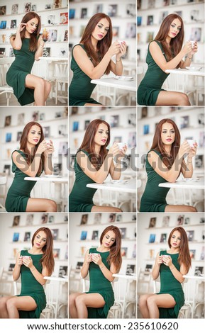 Fashionable attractive young woman in green dress sitting in restaurant. Beautiful redhead posing in elegant scenery with a cup of coffee in her hand. Pretty female relaxing, indoor shot. - stock photo