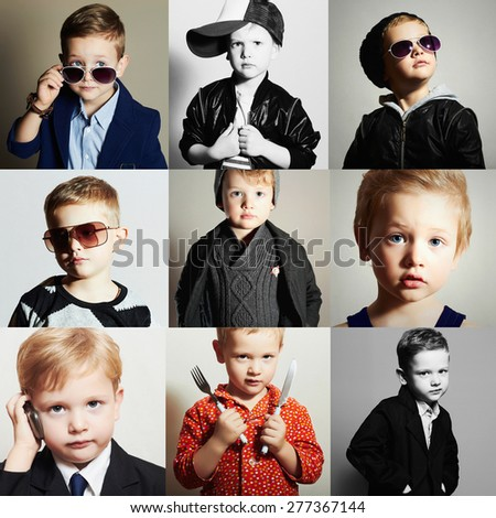 fashionable child.handsome little boy.Beauty color collage. Faces of child - stock photo