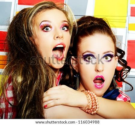 fashionable club girls - stock photo