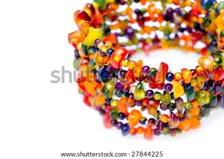fashionable colorful bracelet against white background - stock photo