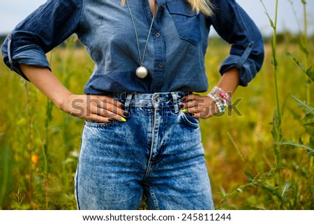 Fashionable country girl - stock photo