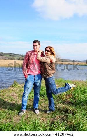 fashionable couple - stock photo