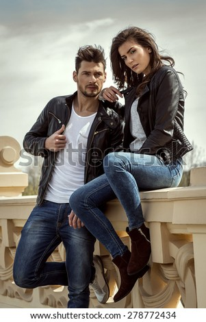 Fashionable couple outdoor - stock photo