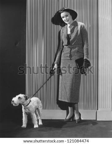 Fashionable dog walker - stock photo