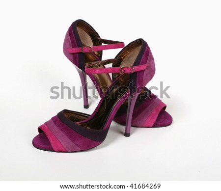 Fashionable female shoes on a light background - stock photo