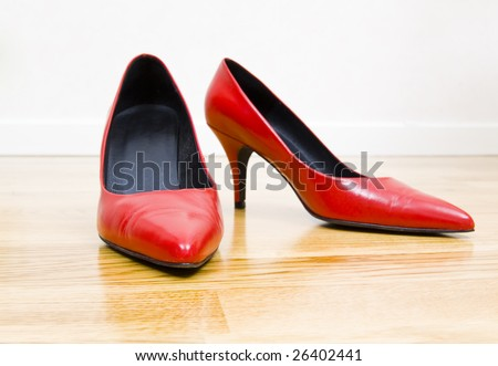 fashionable female shoes on wooden floor