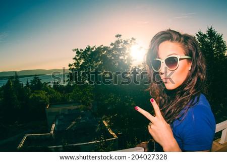 fashionable girl having fun - stock photo