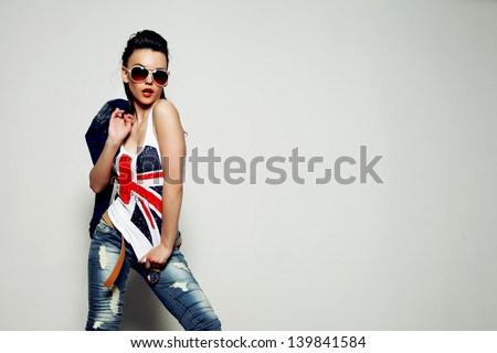 fashionable girl in a vest - stock photo