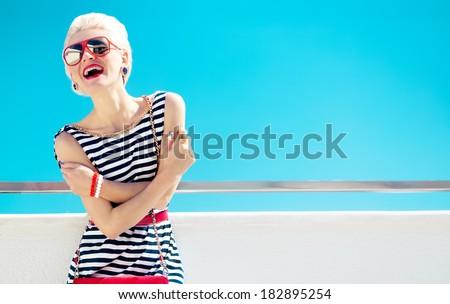 Fashionable girl photo. Marine style - stock photo