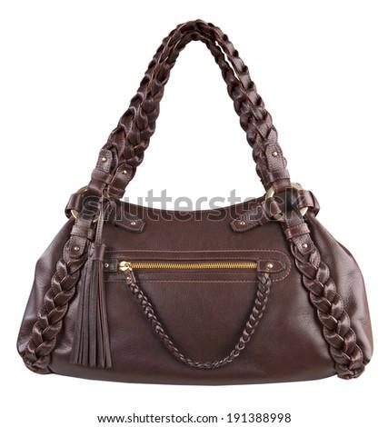 Fashionable handbags isolated on white - stock photo