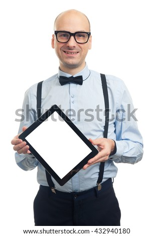 fashionable handsome bald man showing blank screen of digital tablet. isolated on white background - stock photo