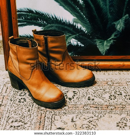 Fashionable Ladies Shoes. Texas style - stock photo