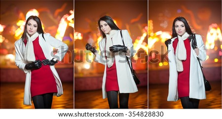 Fashionable lady wearing red dress and white coat outdoor in urban scenery with city lights in background. Full length portrait of young beautiful elegant woman posing in winter style. Street shot. - stock photo