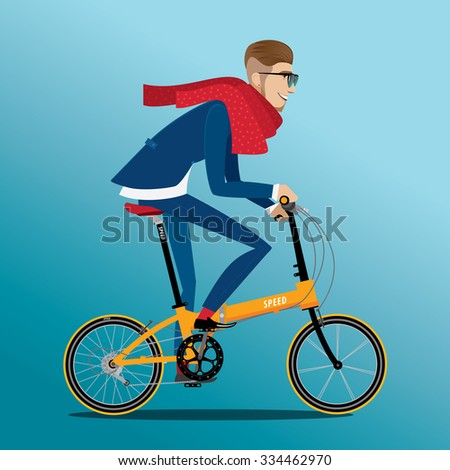 Fashionable man in blue suit rides on a detailed high quality folding bike | raster version