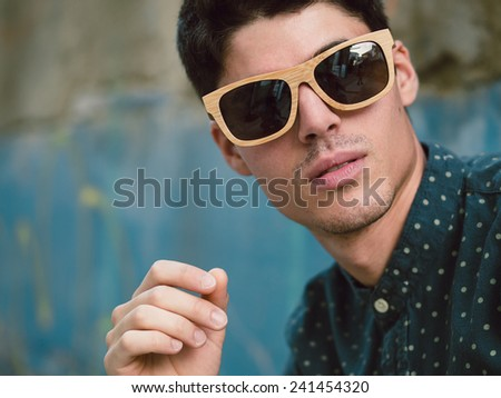 Fashionable man portrait detail. A close up portrait. - stock photo