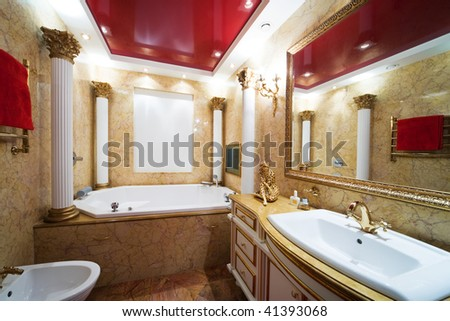 Fashionable marble bathroom in a modern apartment - stock photo